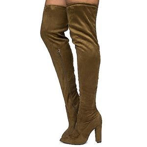 Olive Thigh High Boots | Make A Offer